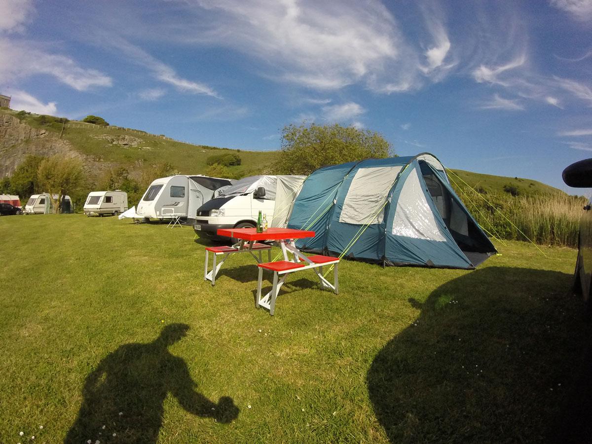 vwt4 awning camping setup